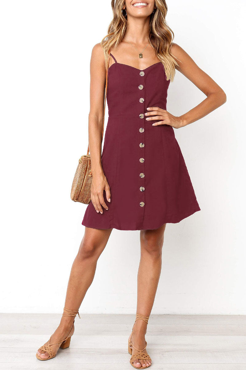 Viegal Pleated Design Sling Dress (3 colors)