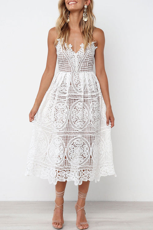 Viegal White Hollow-out Lace Midi Dress(Nonelastic)