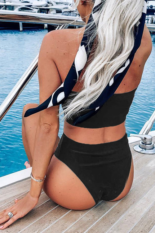 Viegal Black High Waist Two-piece Swimsuit