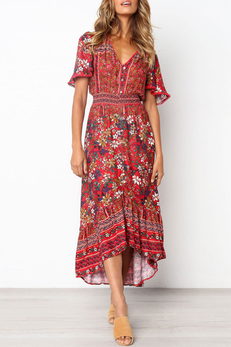 Viegal Floral Print Red A Line Dress(Nonelastic)