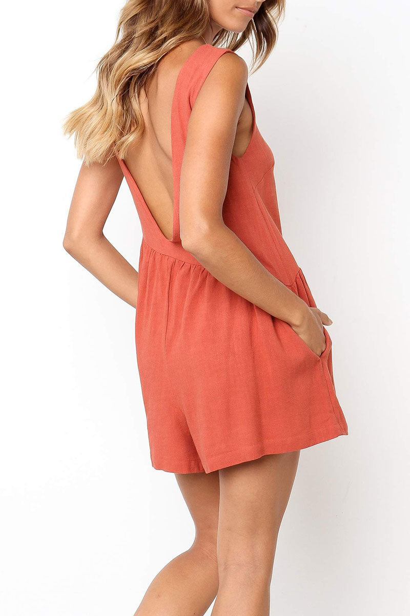 Viegal Ruffle Loose One-piece Rompers(Nonelastic) (2 colors)