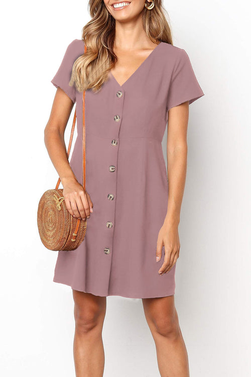 Viegal Casual Buttons Decorative Mini Dress (4 colors)