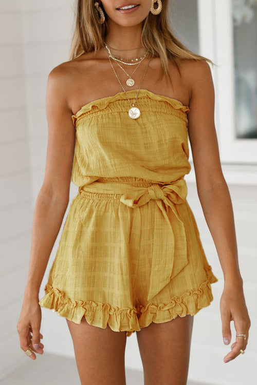 Viegal Yellow Lace-up Rompers