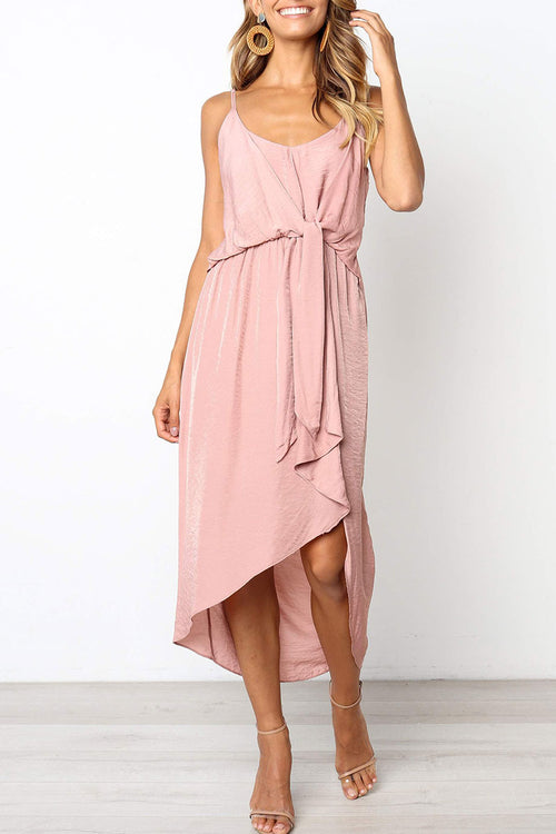 Viegal Pink Asymmetrical Dress(Nonelastic)