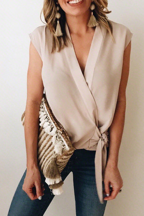 Viegal V Neck Lace-up Beige Blouse