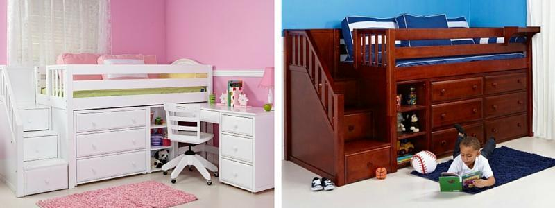 Kids Small Bedroom Solution: Low Loft with Storage
