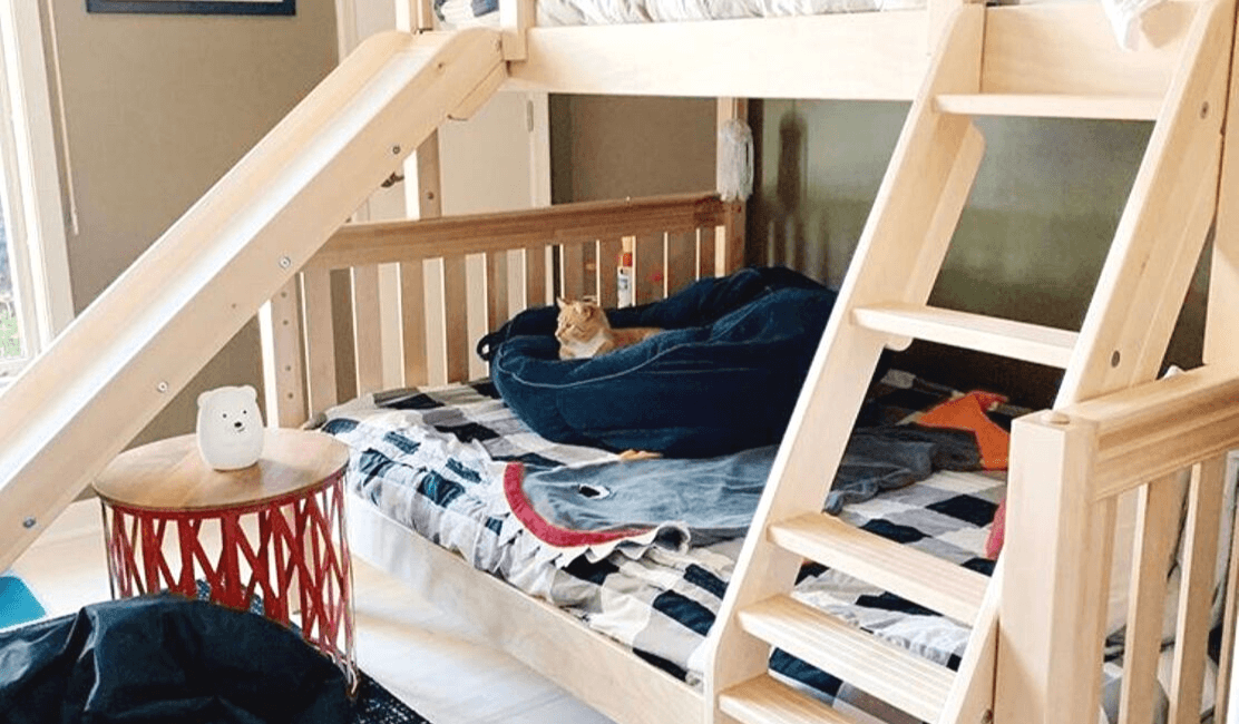twin over full bunk bed with slide fun boys room reveal