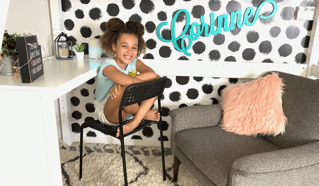 corinne joy room reveal with high loft with desk and top tent
