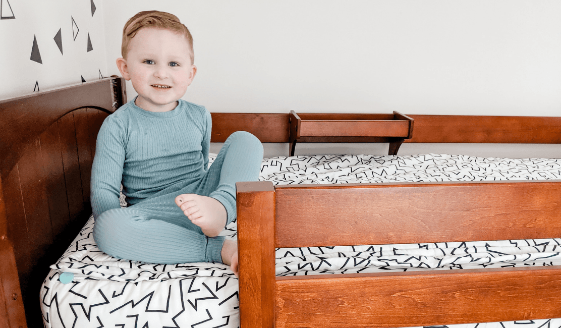 Toddler Bed Transforms into Low Loft Bed with Curtains