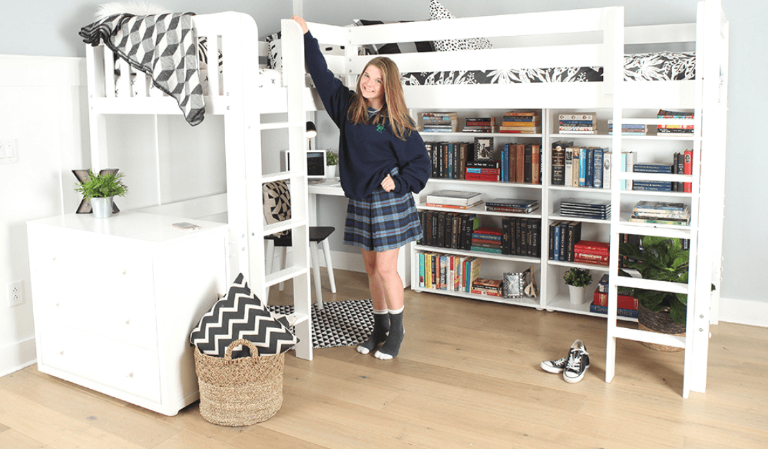 Study, Store & Sleep Two with this Stylish Corner Study Loft Bed Design
