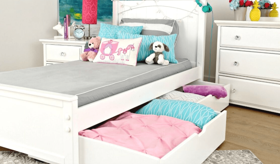 Twin Beds with Cool Underbed Storage!