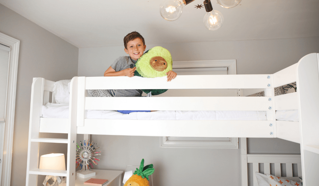 triple bunk bed with storage
