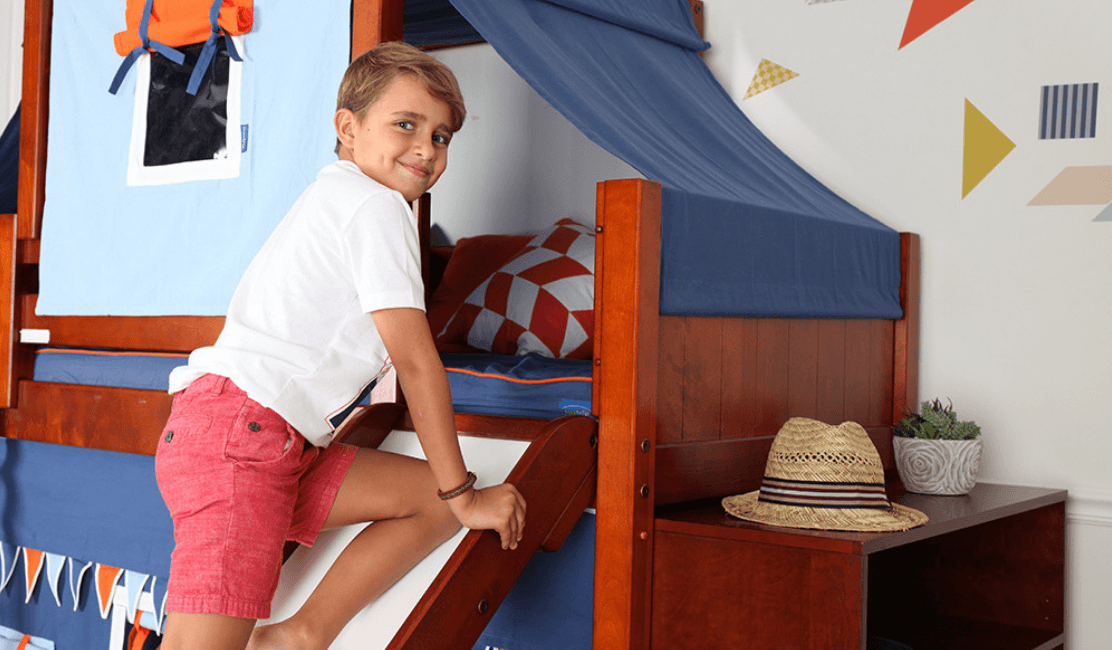 mid loft bed with slide fun kids bed
