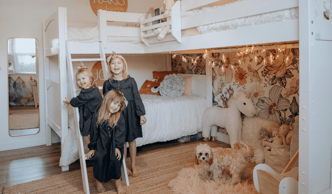 Ashley Noel Chooses a Triple Bunk Bed for her Girls Room