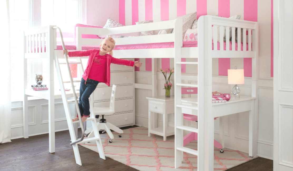 Beautiful Girl's Bedroom with White Corner Loft