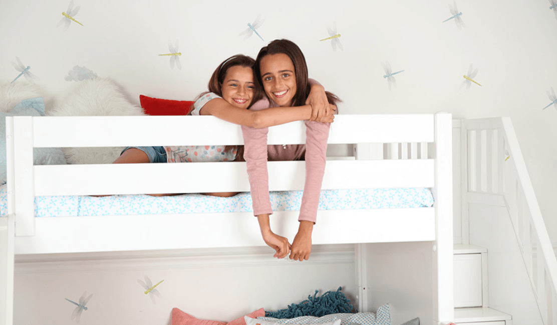 Girls Room Starring Best Twin over Full Bunk Beds with Stairs and Slide