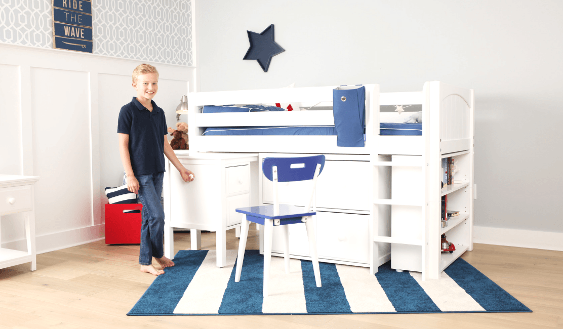 Making Space in a Small Kid's Room: The Box Low Loft with Desk Maxtrix Kids