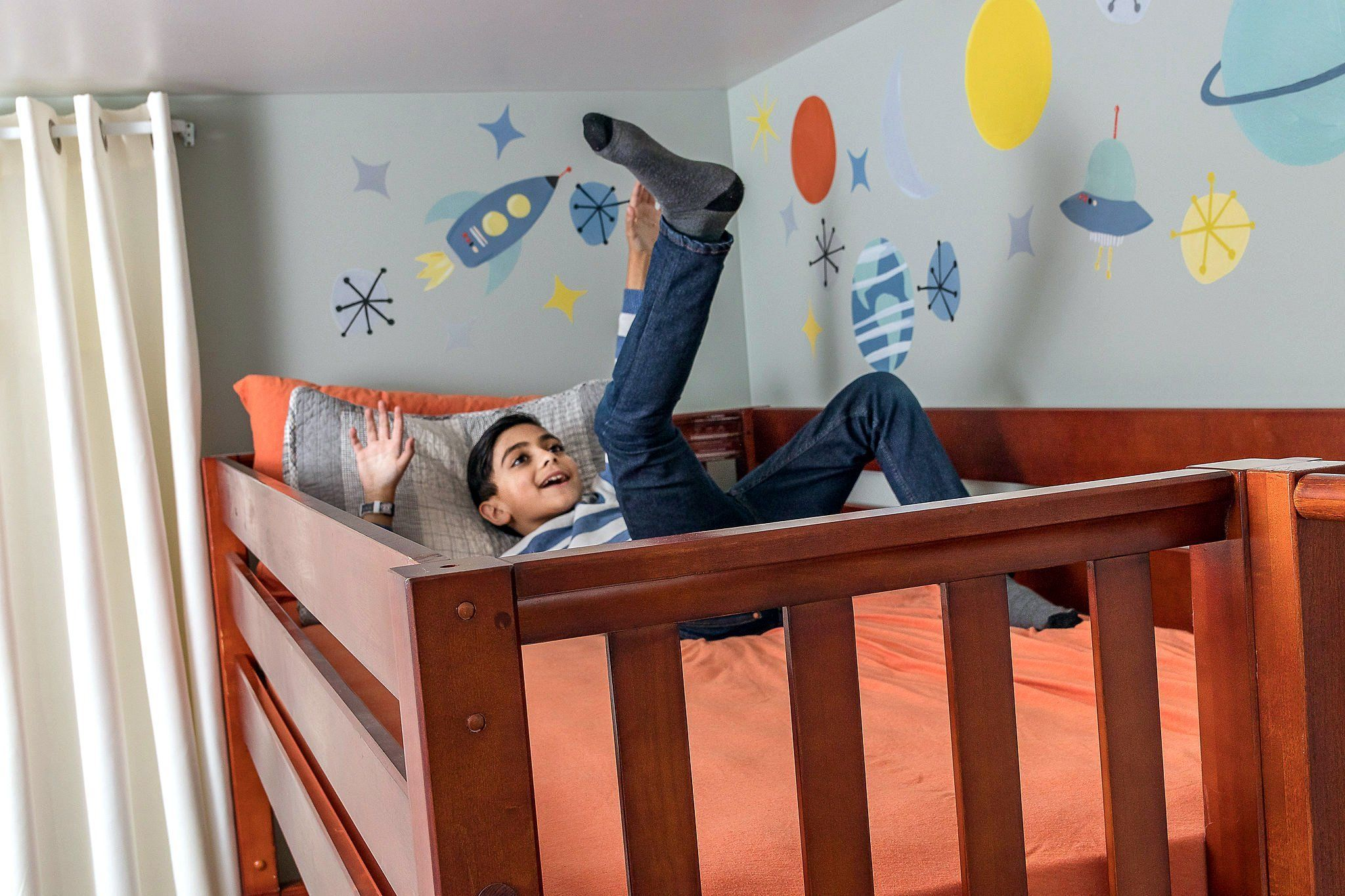 Saleha Updates Sons Room to Twin Bunk Beds with Slide