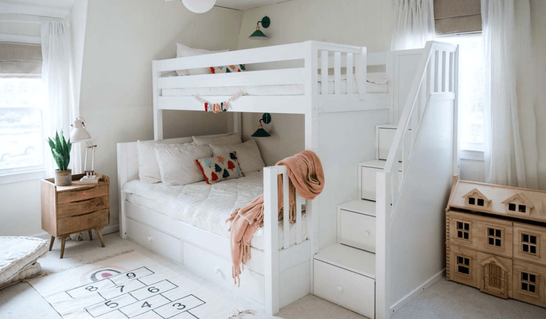 Twin over Full Bunk Bed with Storage Stars in Girls Bedroom Makeover
