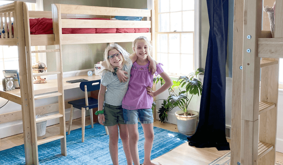 Twin Tweens Style their Shared Room with Twin XL Loft Beds