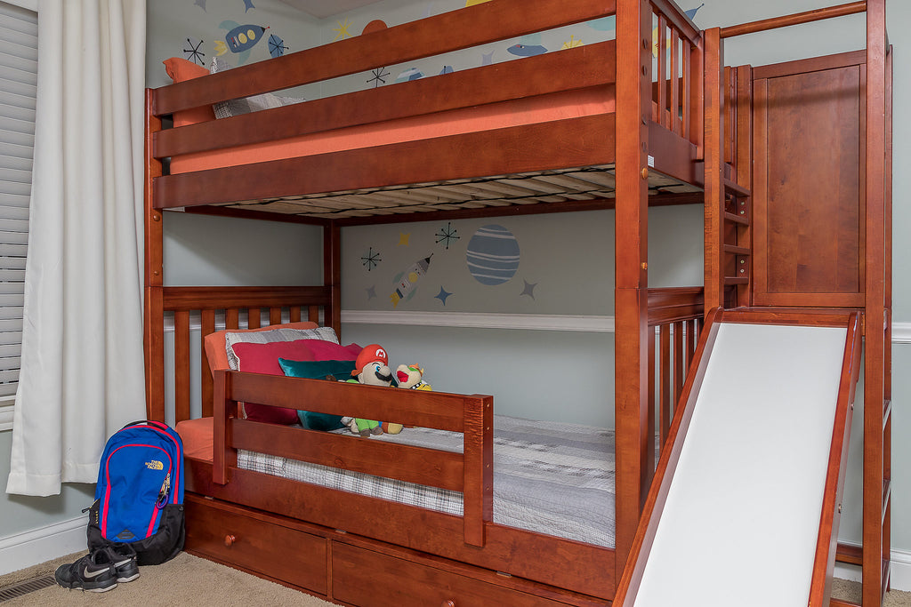 poof high bunk beds with slides