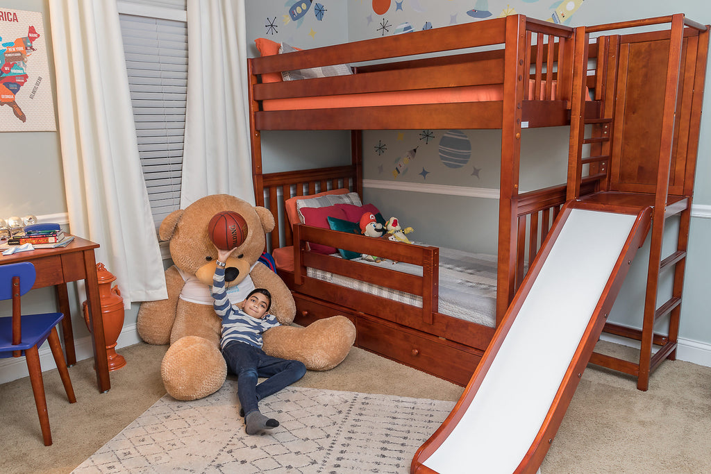 chestnut cappuccino bunk bed with slide