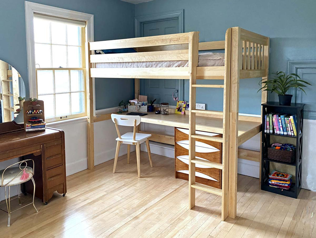 twin xl loft bed in natural wood
