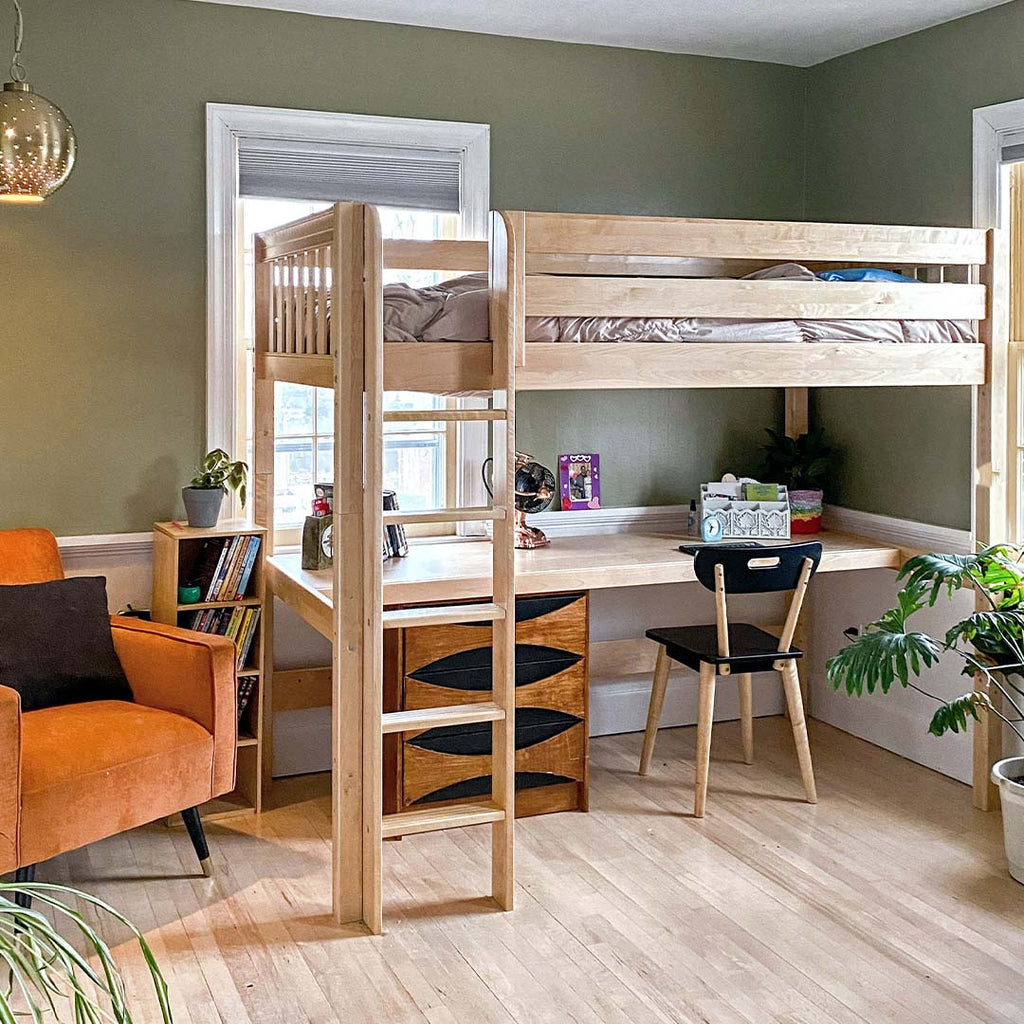 twin xl loft bed with desk for high schoolers and teens