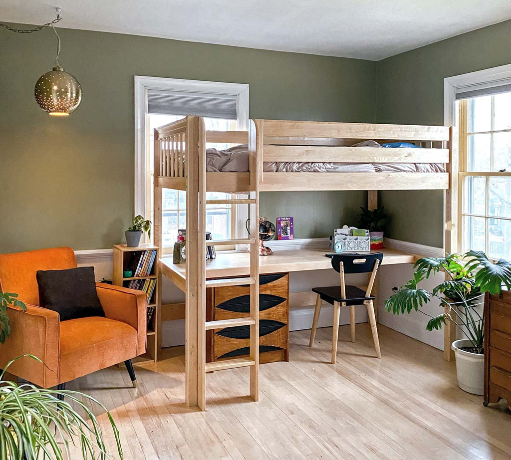 natural wood high twin xl loft bed with desk