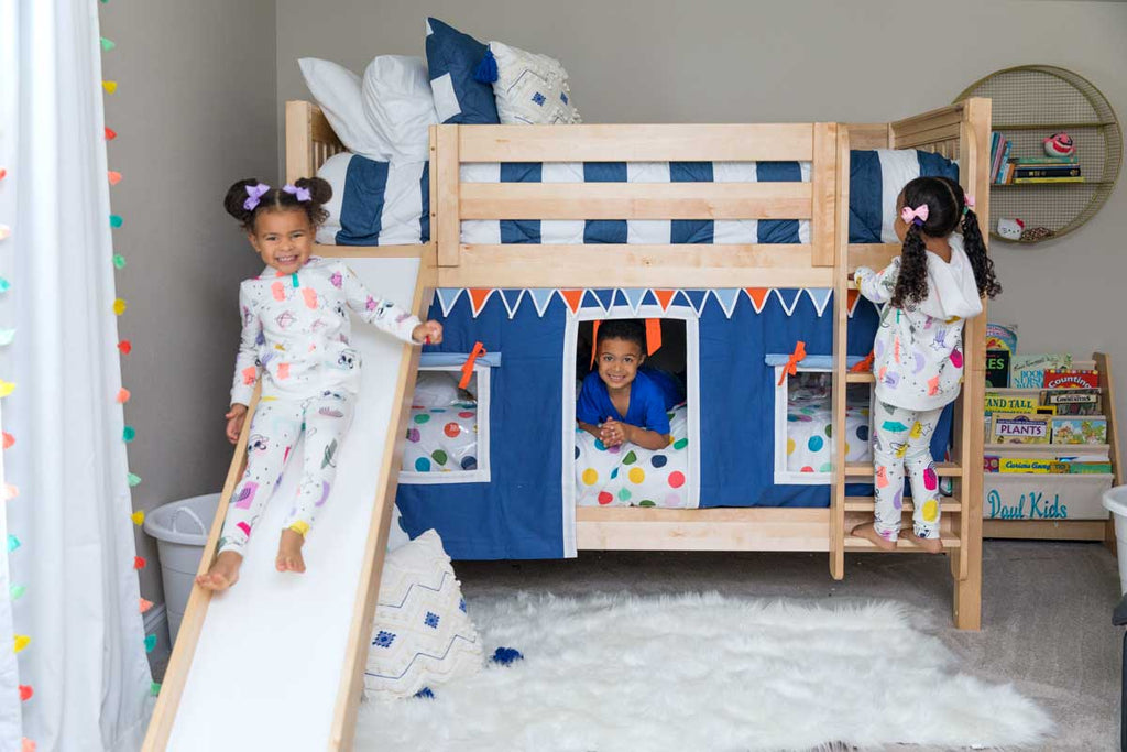 bunk beds shared kids room boy girl