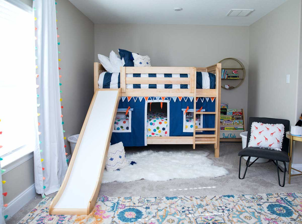 twin low bunk beds with slide and curtain