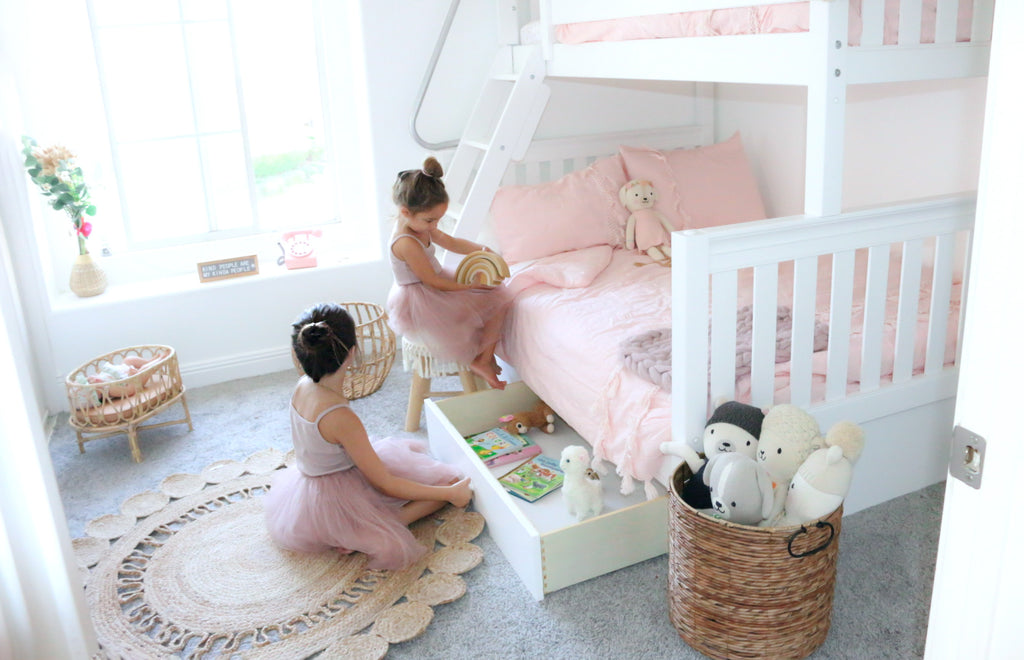 twin over full bunk bed for girls shared room