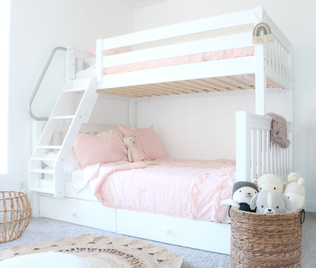 Gunnsgirls Room Reveal With White Twin Over Full Bunk Beds Maxtrix Kids