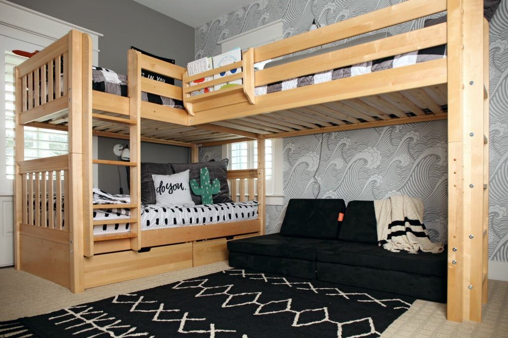 hudson and aiden's shared triple bunk bed room