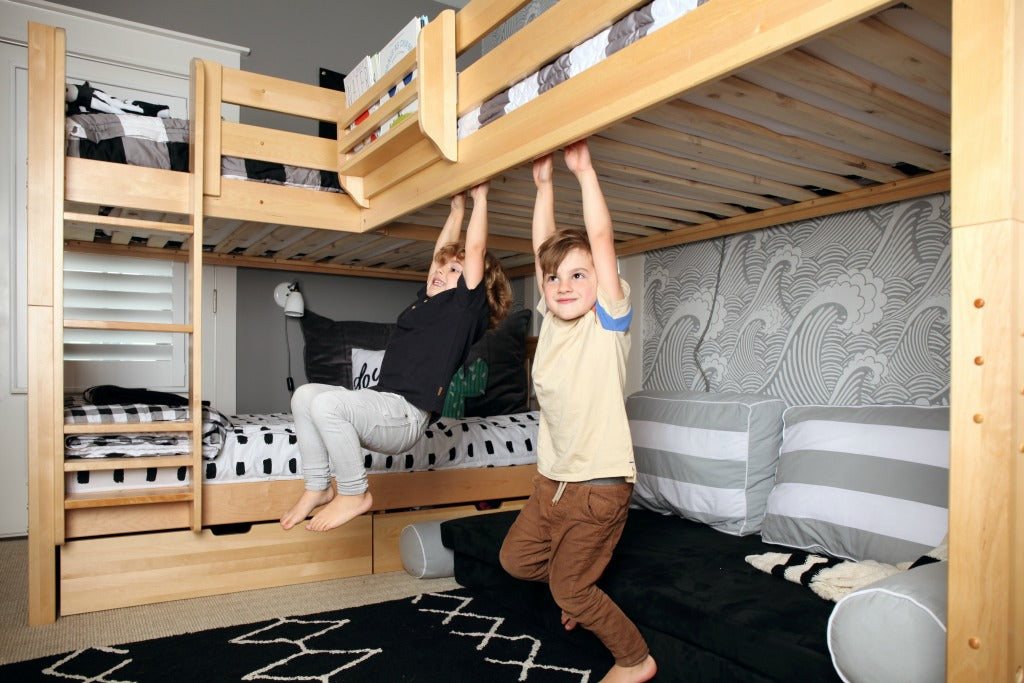 Picture of: Room Reveal Corner Bunk Beds Add Space To Shared Boys Room Maxtrix Kids