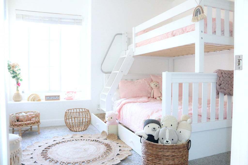 white twin over full bunk beds for girls
