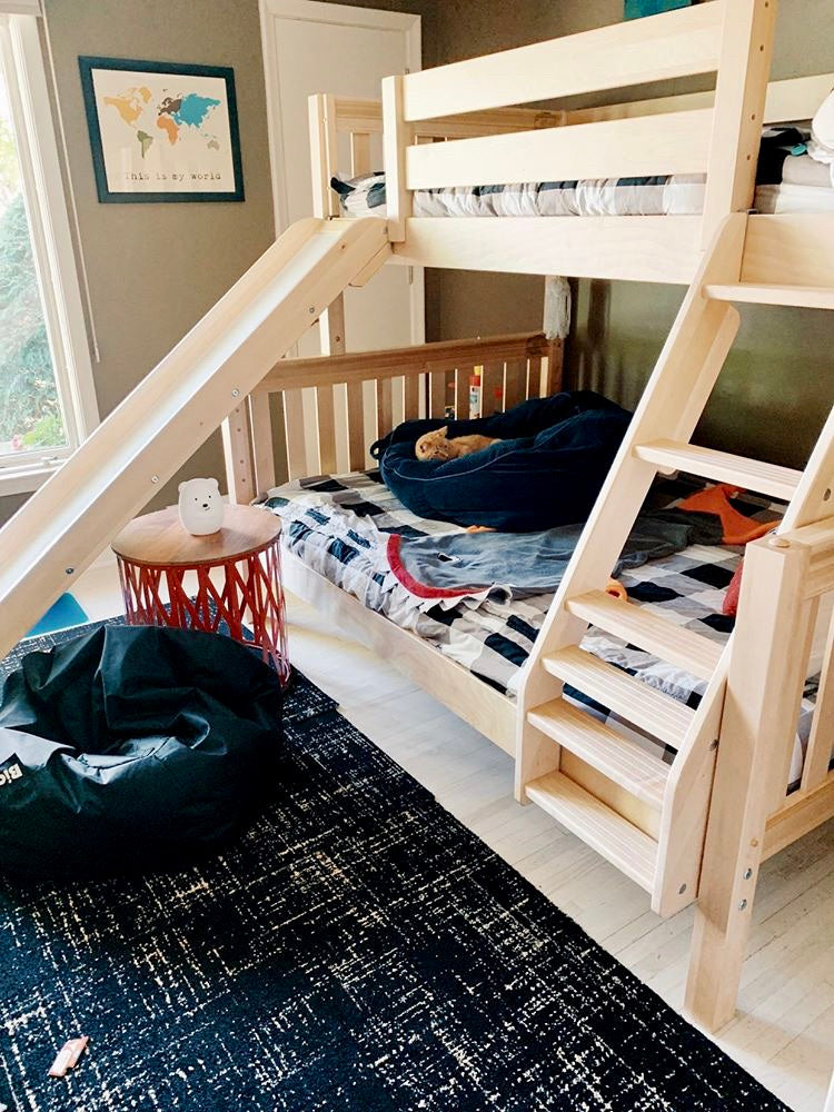 boys twin over full bunk bed with slide