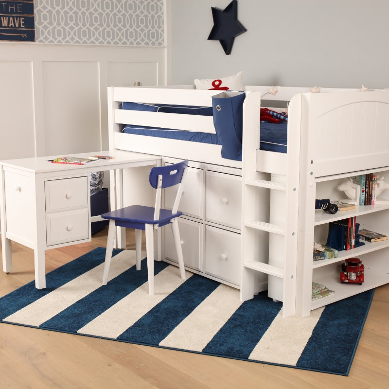 low loft bed with desk and storage