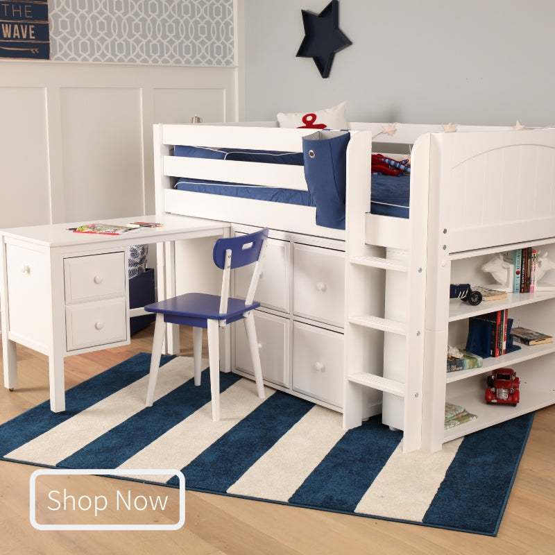 Twin Low Loft Bed with Straight Ladder & Storage