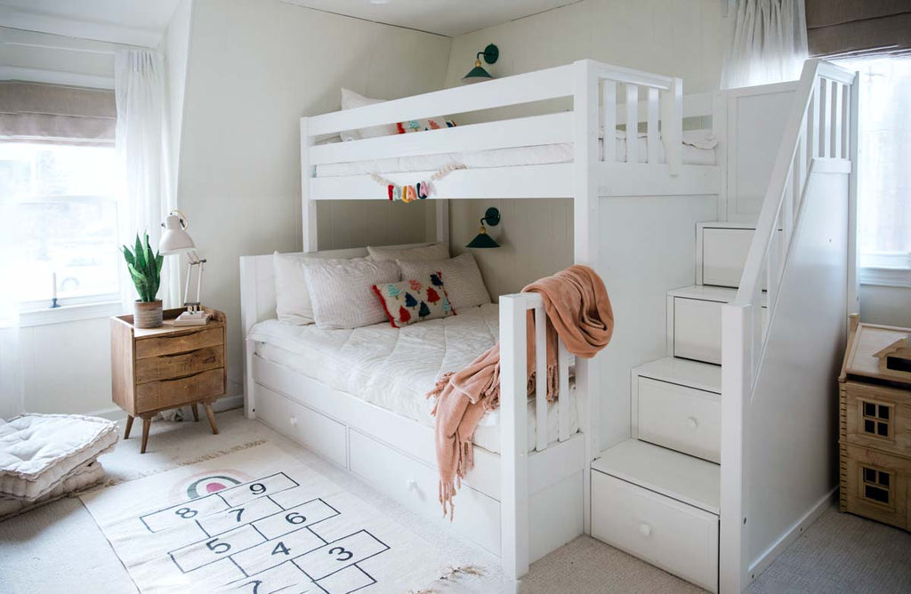 twin over full bunk bed with stairs and under bed storage