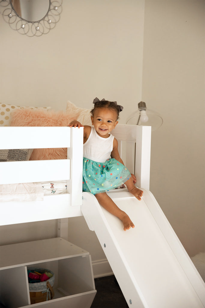 low bed with slide for toddler