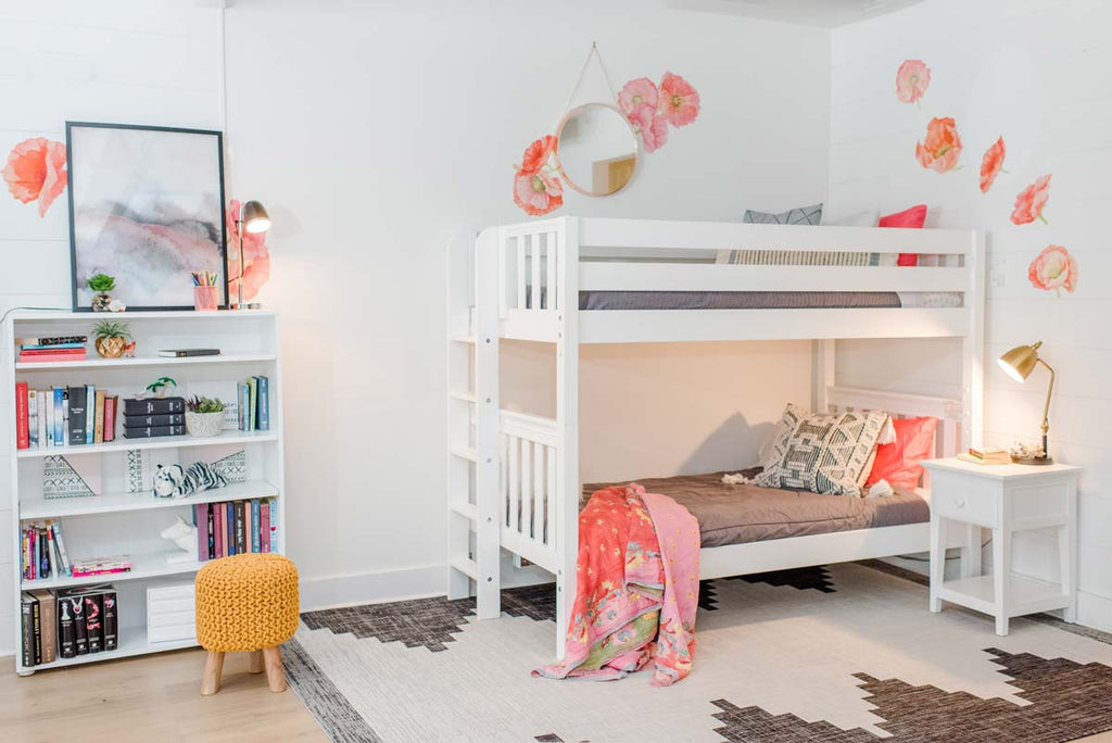 medium height bunk bed with straight ladder on end