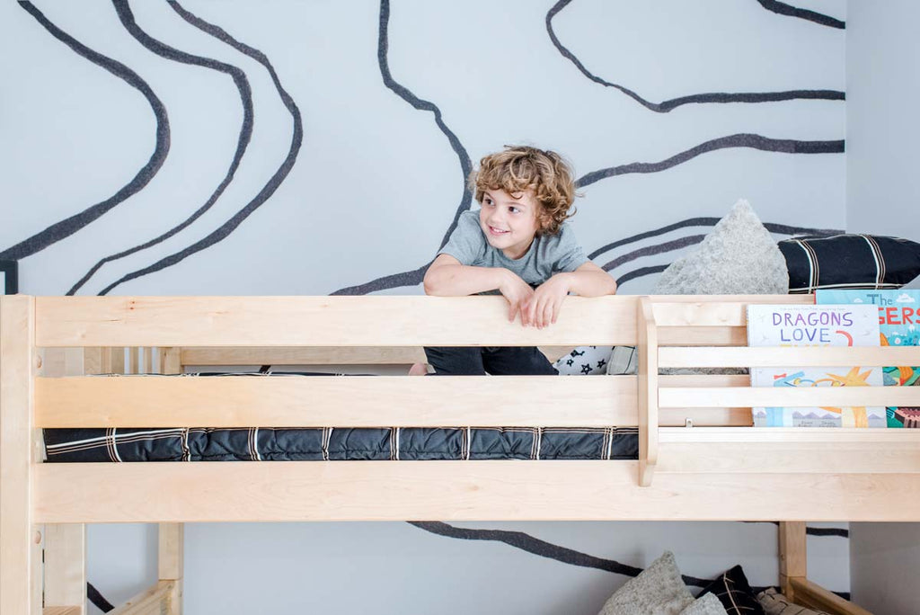 Hudson's Room Reveal twin over full bunk bed boys room