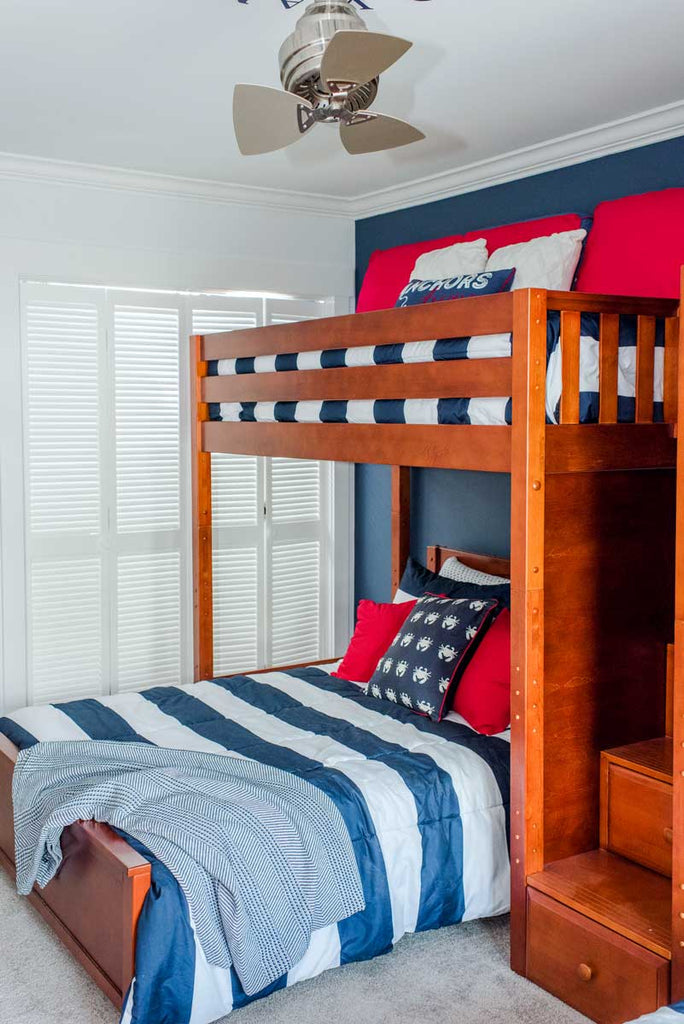 twin over full l shaped bunk bed with stairs
