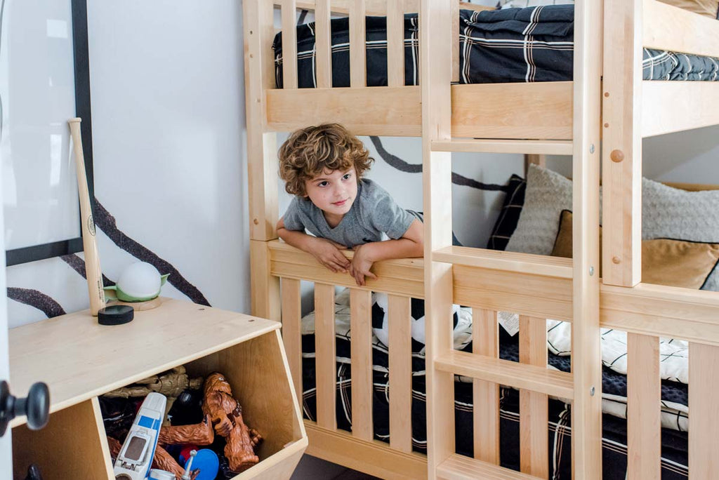 staggered bunk bed