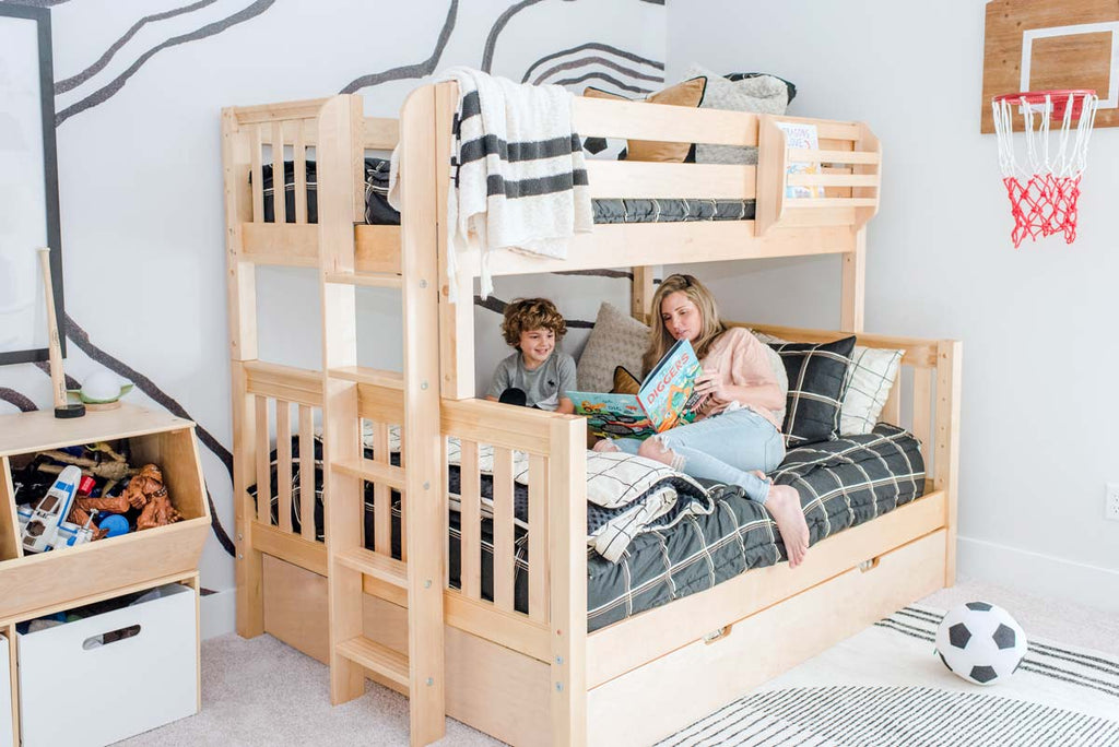 natural twin over full bunk bed boys room