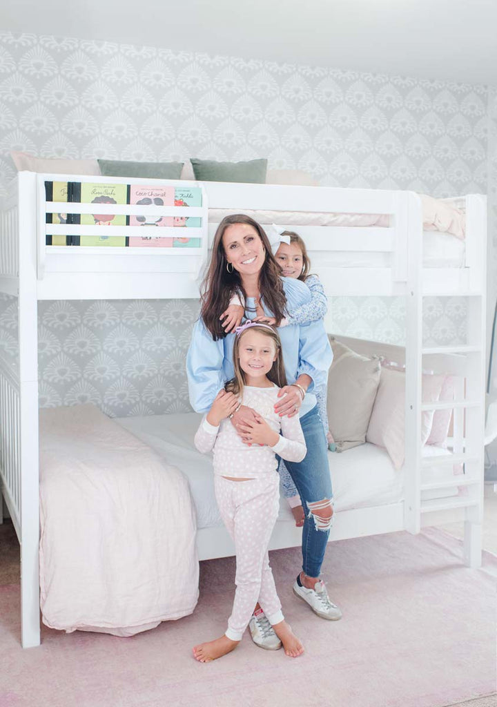 mom and girls in bunk bed room