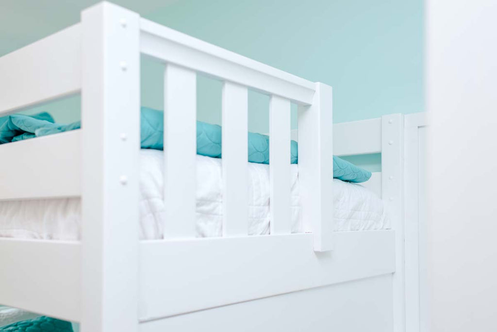 guardrails on top of sturdy adult bunk bed
