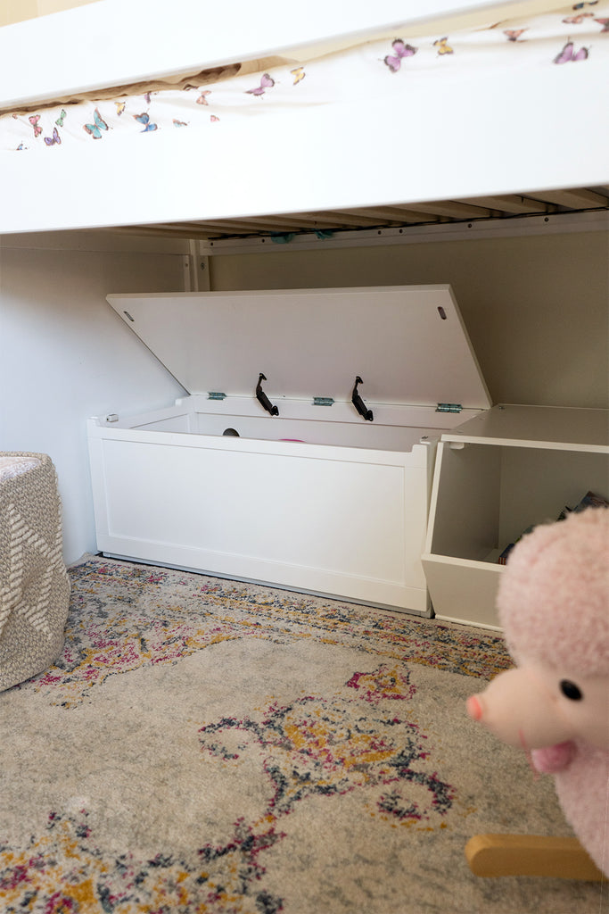 toy box for toddler under loft bed