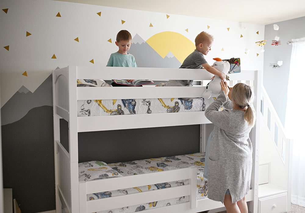 twin bunk beds with stairs airplane mountain theme room